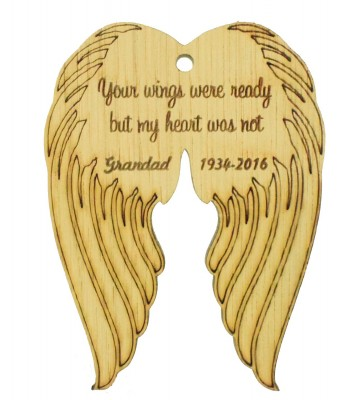 Laser Cut Personalised Oak Veneer Engraved Christmas Decoration - 'Your wings were ready but my heart was not' Angel Wings