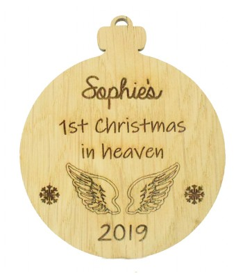 Laser Cut Personalised Oak Veneer Engraved Christmas Decoration - '1st Christmas in Heaven' Bauble