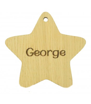 Laser Cut Personalised Oak Veneer Engraved Christmas Decoration - Plain Star