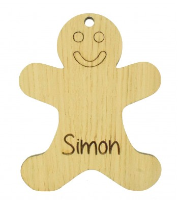 Laser Cut Personalised Oak Veneer Engraved Christmas Decoration - Gingerbread Man