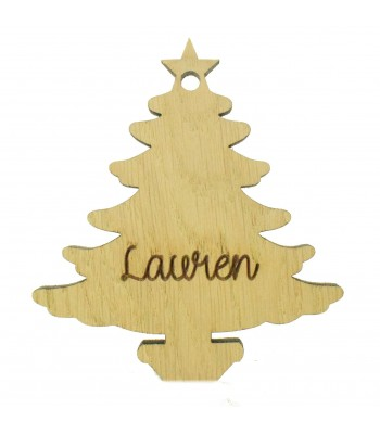 Laser Cut Personalised Oak Veneer Engraved Christmas Decoration - Plain Christmas Tree