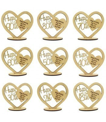 Laser Cut Oak Veneer Personalised Happy Birthday Heart on a Stand with Engraved Message