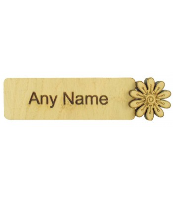 Laser Cut Personalised Oak Veneer Bookmark with 3D Flower Shape - Options Available