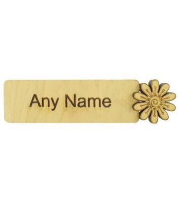 Laser Cut Personalised Oak Veneer Bookmark with 3D Flower Shape - Options Available