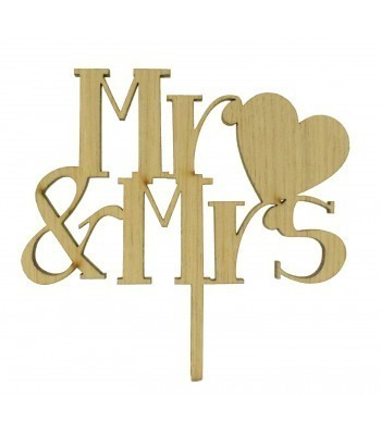 Laser Cut Mr & Mrs With Love Heart Cake Topper