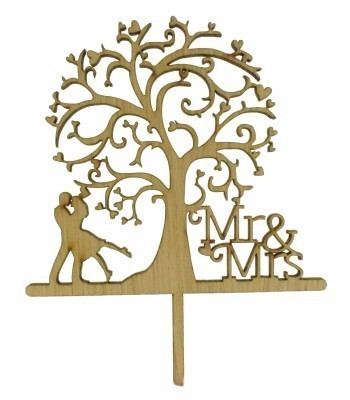 Laser Cut Mr & Mrs With Tree & Couple Underneath The Tree Cake Topper
