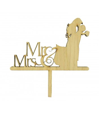 Laser Cut Oak Veneer 'Mr & Mrs' with Wedding Couple Cake Topper