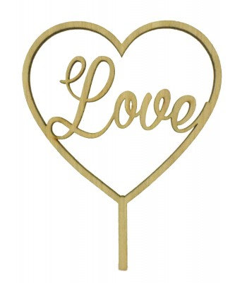 Laser Cut Oak Veneer 'Love' Heart Frame Cake Topper