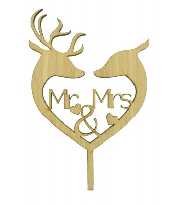 Laser Cut Oak Veneer 'Mr & Mrs' Deer & Stag Heart Cake Topper