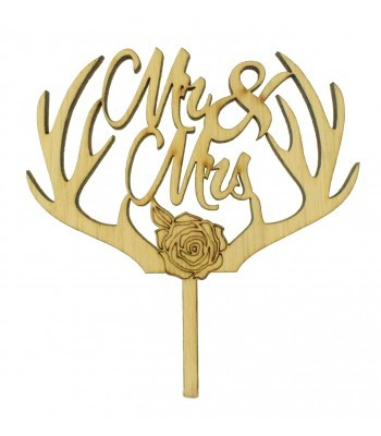 Laser Cut Oak Veneer 'Mr & Mrs' Cake Topper with Antlers & a Rose