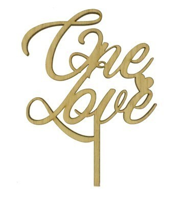 Laser Cut Oak Veneer 'One Love' Cake Topper