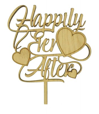 Laser Cut Oak Veneer 'Happily Ever After' Cake Topper with Hearts