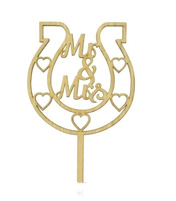Laser Cut Oak Veneer 'Mr & Mrs' Horseshoe Cake Topper