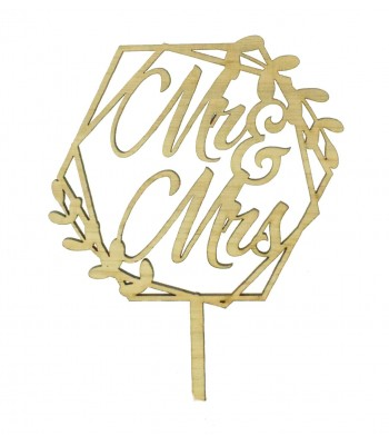 Laser Cut Oak Veneer 'Mr & Mrs' Hexagon with Leafs Cake Topper
