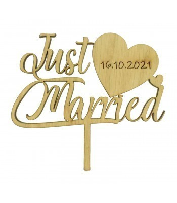 Laser Cut Oak Veneer Personalised 'Just Married' Cake Topper with Date on a Heart