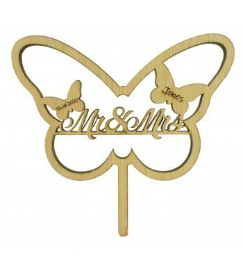 Laser Cut Oak Veneer Personalised 'Mr & Mrs' Butterfly Frame Cake Topper - Surname & Date