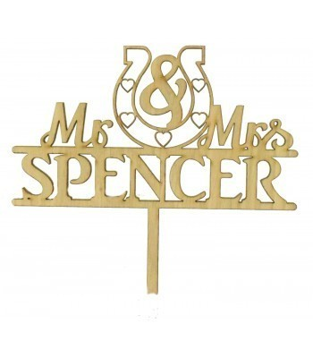 Laser Cut Oak Veneer Personalised 'Mr & Mrs' Cake Topper with Horseshoe - Surname