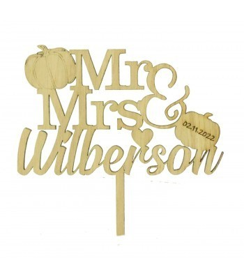 Laser Cut Oak Veneer Personalised 'Mr & Mrs' Cake Topper with Pumpkins - Surname & Date