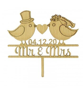 Laser Cut Oak Veneer Personalised 'Mr & Mrs' Cake Topper with Birds - Date