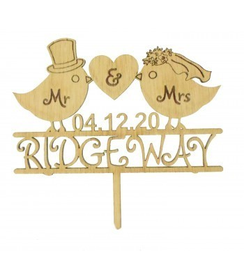 Laser Cut Oak Veneer Personalised 'Mr & Mrs' Cake Topper with Birds - Surname & Date