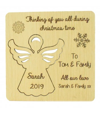 Laser Cut Oak Veneer Personalised Christmas Card with Pop Out Angel Christmas Tree Decoration