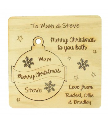 Laser Cut Oak Veneer Personalised Christmas Card with Pop Out Bauble Christmas Tree Decoration