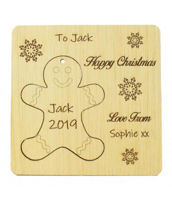 Laser Cut Oak Veneer Personalised Christmas Card with Pop Out Gingerbread Christmas Tree Decoration