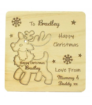 Laser Cut Oak Veneer Personalised Christmas Card with Pop Out Reindeer Christmas Tree Decoration