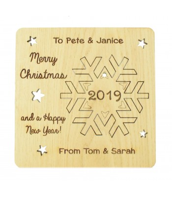 Laser Cut Oak Veneer Personalised Christmas Card with Pop Out Snowflake Christmas Tree Decoration