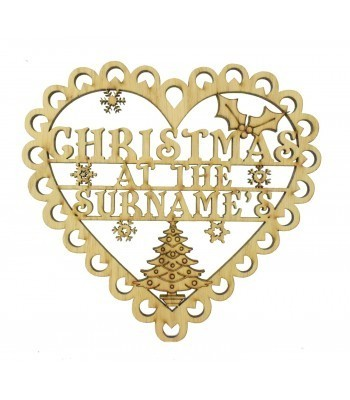 Laser Cut Oak Veneer Personalised 'Christmas At The...' Lace Heart Shape Sign - 200mm Size