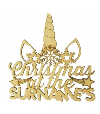 Laser Cut Oak Veneer Personalised 'Christmas At The...' Unicorn Sign - 200mm Size