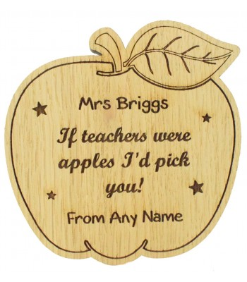Laser cut Personalised Oak Veneer 'If teachers were apples I'd pick you!' Teachers Apple Shape Drink Coaster