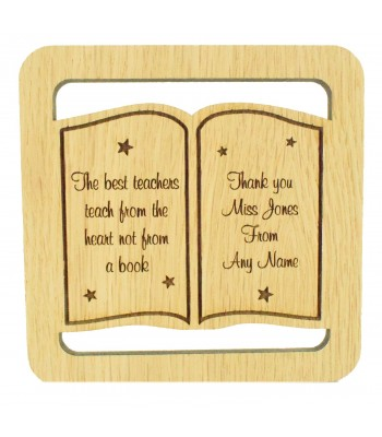 Laser cut Personalised Oak Veneer 'The best teachers teach from the heart not from a book' Teachers Drink Coaster