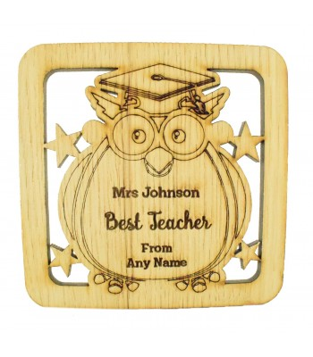 Laser cut Personalised Oak Veneer 'Best Teacher' Teachers Owl Drink Coaster