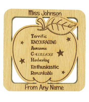 Laser cut Personalised Oak Veneer 'Terrific Encouraging Awesome Cheerleader Hardworking Enthusiastic Remarkable' Teachers Drink Coaster