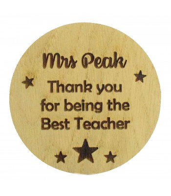 Laser cut Personalised Oak Veneer 'Thank you for being the Best Teacher' Teachers Drink Coaster