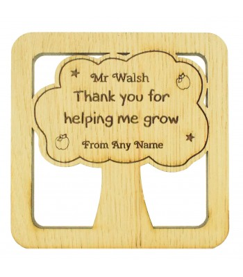 Laser cut Personalised Oak Veneer 'Thank you for helping me grow' Teachers Drink Coaster - Tree Shape in a Frame