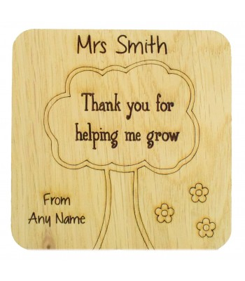 Laser cut Personalised Oak Veneer 'Thank you for helping me grow' Teachers Drink Coaster - Solid with Etched Tree
