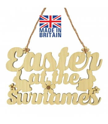 Laser Cut Oak Veneer Personalised 'Easter At The...' Sign with Easter Rabbits and Flowers - 200mm Size