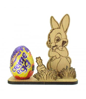 Laser Cut Oak Veneer 3D Cute Rabbit on a Creme Egg Holder Stand