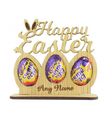 Laser Cut Oak Veneer Personalised 'Happy Easter' Creme Egg Holder Sign on a Stand