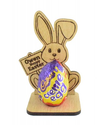 Laser Cut Oak Veneer Easter Bunny with Personalised Sign on a Creme Egg Holder Stand