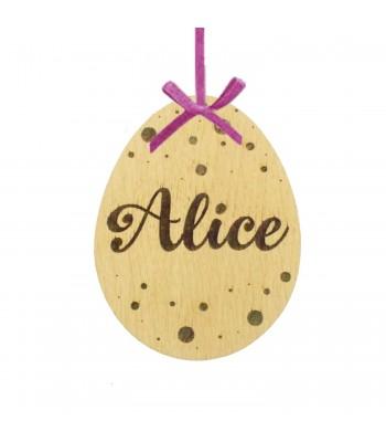 Laser Cut Personalised Oak Veneer Engraved Easter Egg Decoration/Tag - Polka Dot Design