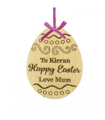 Laser Cut Personalised Oak Veneer 'Happy Easter' Engraved Easter Egg Decoration/Tag - Swirls & Polka Dots Design