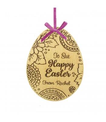 Laser Cut Personalised Oak Veneer 'Happy Easter' Engraved Easter Egg Decoration/Tag - Floral Design