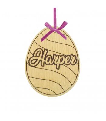 Laser Cut Personalised Oak Veneer Engraved Easter Egg Decoration/Tag - Stripped Waves Design