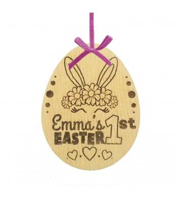 Laser Cut Personalised Oak Veneer '1st Easter' Engraved Easter Egg Decoration/Tag - Girls