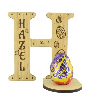 Laser Cut Oak Veneer Personalised Easter Letter with Engraved Name on a Creme Egg Holder Stand