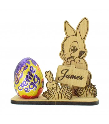 Laser Cut Oak Veneer 3D Cute Rabbit with Personalised Sign Post on a Creme Egg Holder Stand