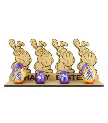 Laser Cut Oak Veneer 'Happy Easter' Bunny Family on a Creme Egg Holder Stand